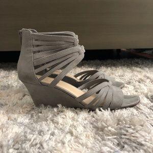 Nine West Gray Suede Heels
